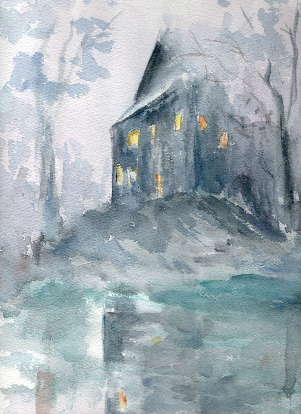 La maison-Usher illustration  mes aquarelles
