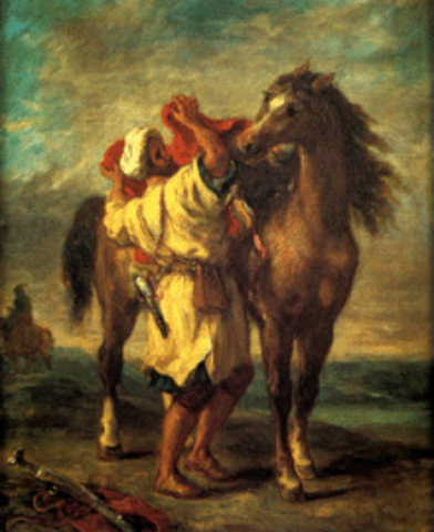 Delacroix arabe sellant son cheval